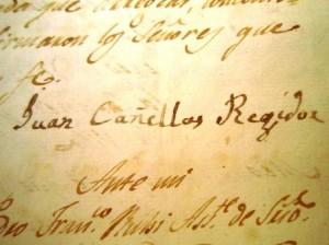 Signatura del regidor Joan Canyelles (s.XIX)