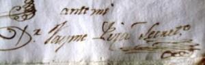 Signatura de Jaume Pizà, AMM