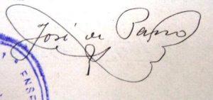 Signatura de Josep de Pano