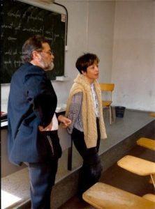 Anys 90. Amb Margarida Aritzeta, a la universitat de Tarragona.